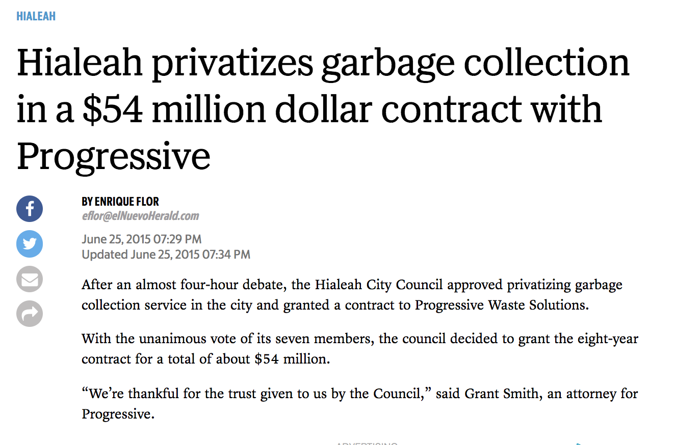 Progressive waste wins bid for Hialeah waste services.